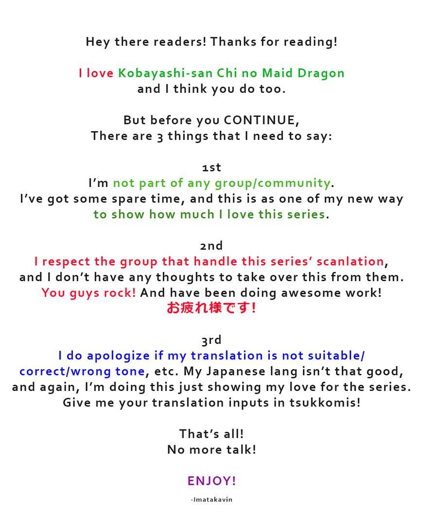 Kobayashi-san Chi no Maid Dragon 62 Page 1